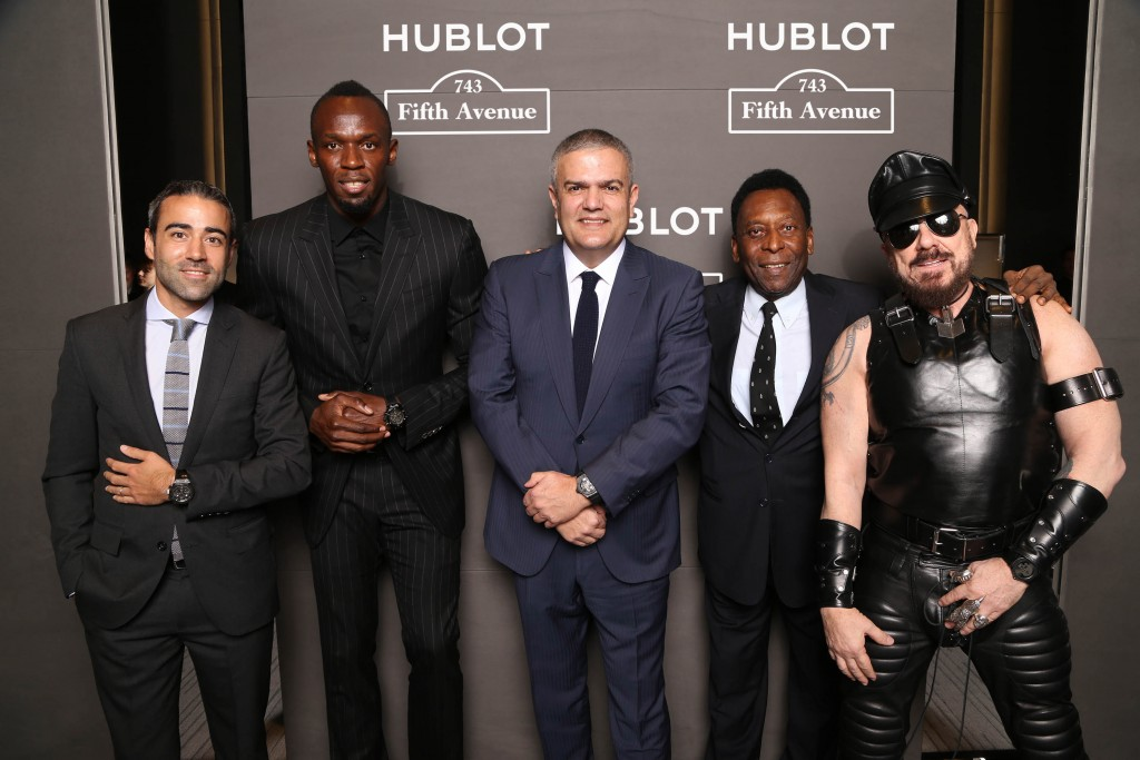 jean-francois-sberro-general-manager-of-hublot-america-usain-bolt-ricardo-guadalupe-ceo-of-hublot-pele-and-peter-marino-at-hublot-5th-avenue-nyc-boutique-opening