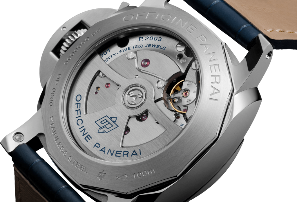self-winding mechanical movement, caliber P.2003, with 25 jewels, 281 components and 28,800 vph