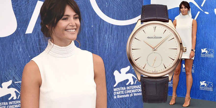 Gemma Arterton wearing a JLC Master Ultra Thin