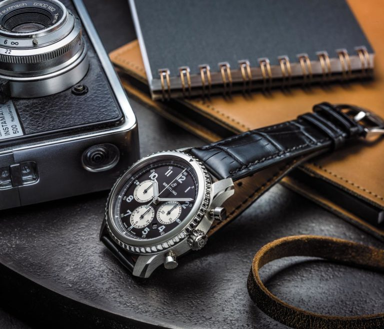 Navitimer 8 B01with black dial and black alligator strap. (PPR/Breitling)