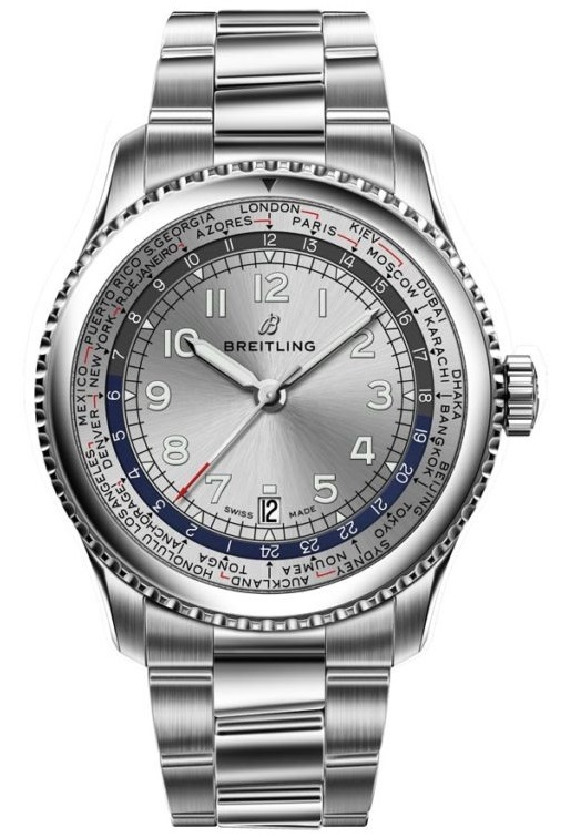 Navitimer 8 Unitime with silver dial and stainless steel bracelet. (PPR/Breitling)