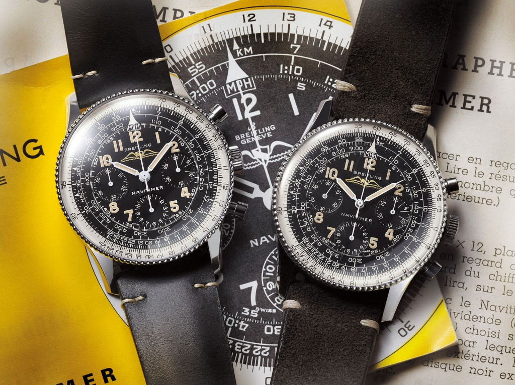 Breitling-Navitimer-806-1959-Re-Edition-comparison- LEFT has REMAKE & the original on RIGHT