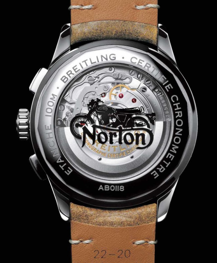 Caseback of the Premier B01 Chronograph 42 Norton Edition (PPR/Breitling)